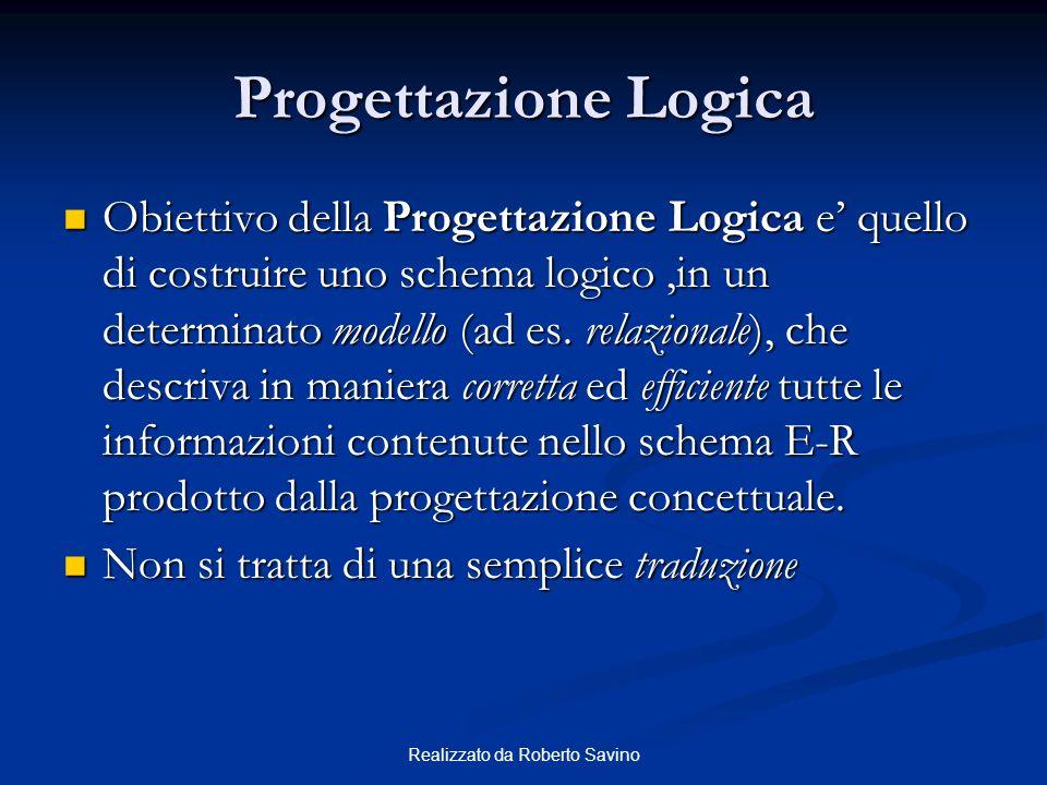 Realizzato da Roberto Savino Progettazione Logica Obiettivo della Progettazione Logica e quello di costruire uno schema logico,in un determinato model
