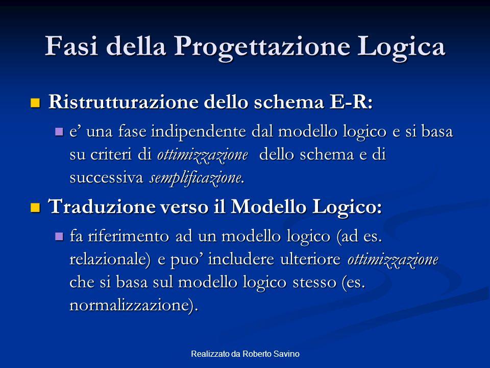 Realizzato da Roberto Savino Fasi della Progettazione Logica Ristrutturazione dello schema E-R: Ristrutturazione dello schema E-R: e una fase indipend