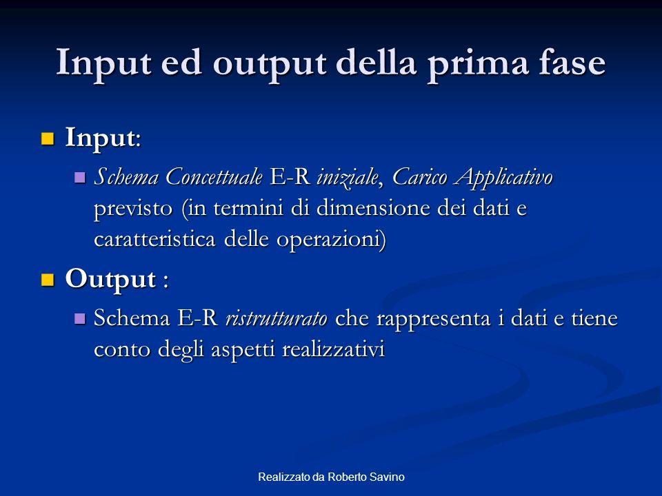 Realizzato da Roberto Savino Input ed output della prima fase Input: Input: Schema Concettuale E-R iniziale, Carico Applicativo previsto (in termini d