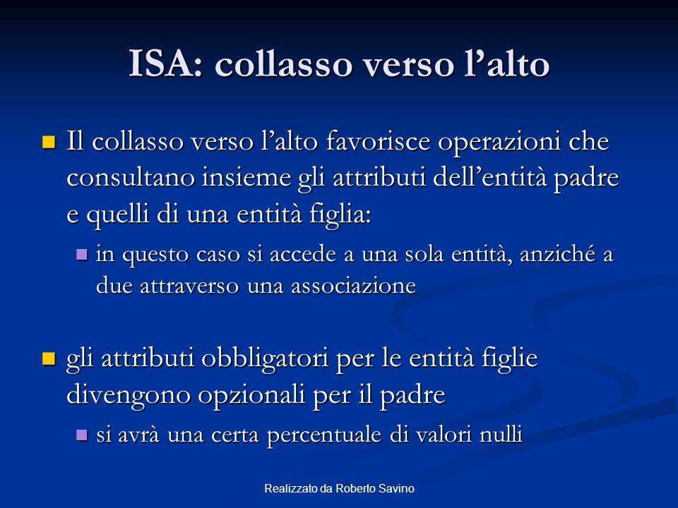 Realizzato da Roberto Savino ISA: collasso verso lalto Il collasso verso lalto favorisce operazioni che consultano insieme gli attributi dellentità pa