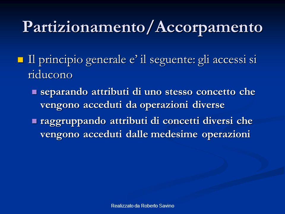 Realizzato da Roberto Savino Partizionamento/Accorpamento Il principio generale e il seguente: gli accessi si riducono Il principio generale e il segu