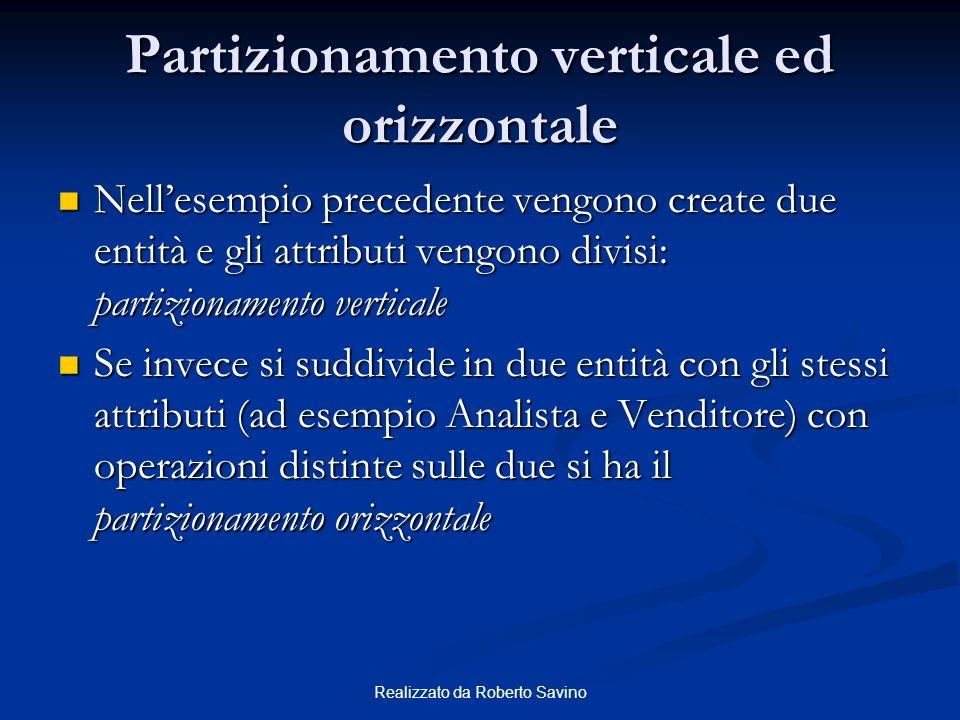 Realizzato da Roberto Savino Partizionamento verticale ed orizzontale Nellesempio precedente vengono create due entità e gli attributi vengono divisi: