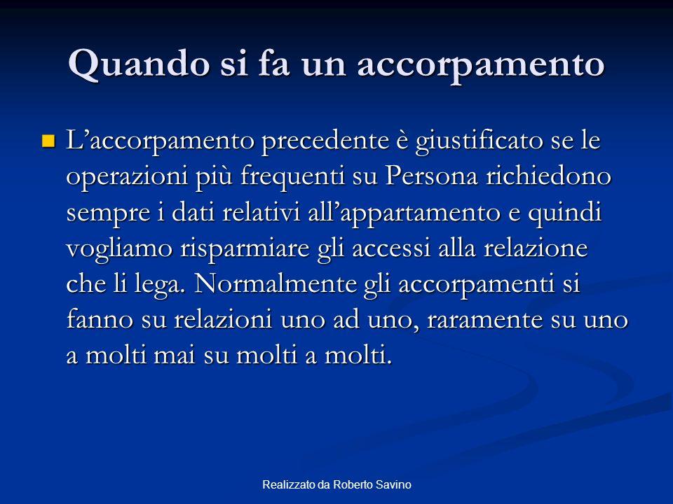 Realizzato da Roberto Savino Quando si fa un accorpamento Laccorpamento precedente è giustificato se le operazioni più frequenti su Persona richiedono
