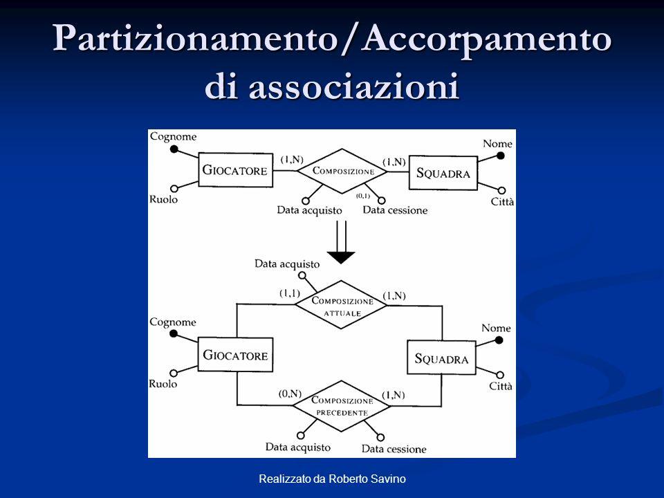 Realizzato da Roberto Savino Partizionamento/Accorpamento di associazioni