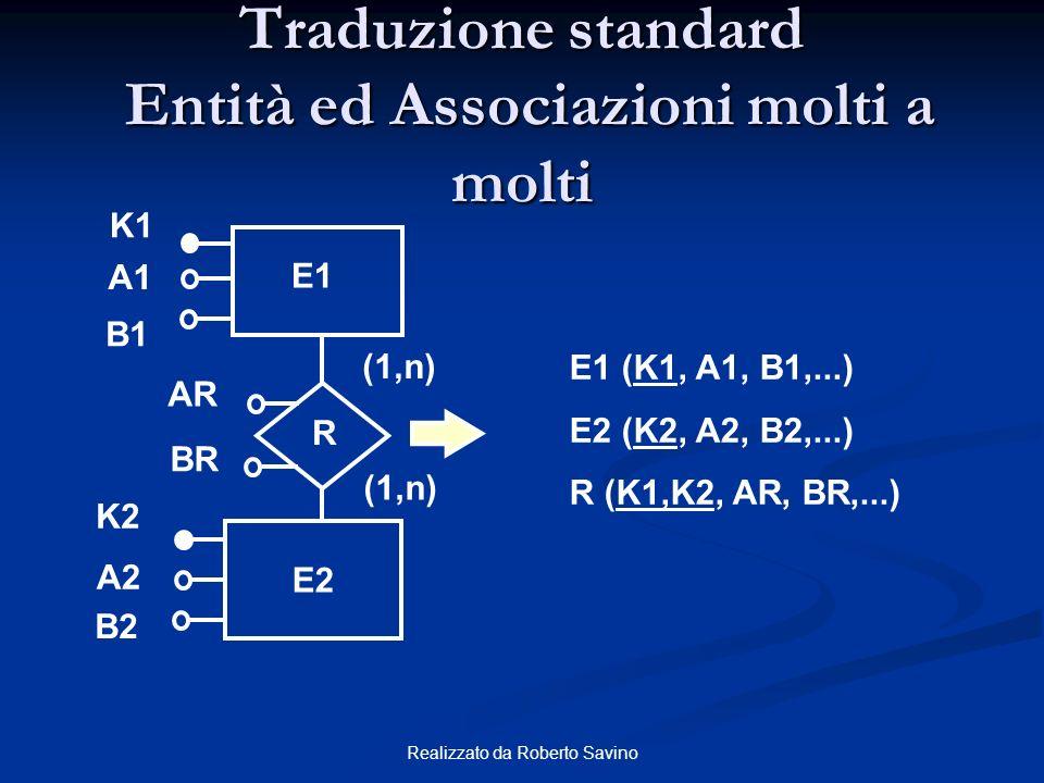 Realizzato da Roberto Savino E1 (K1, A1, B1,...) E2 (K2, A2, B2,...) R (K1,K2, AR, BR,...) E1 K1 (1,n) K2 E2 A1 R B1 A2 B2 AR BR Traduzione standard E