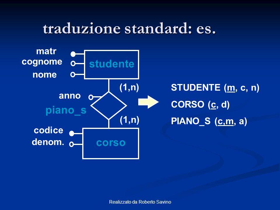 Realizzato da Roberto Savino traduzione standard: es. studente matr (1,n) codice corso cognome piano_s denom. anno nome STUDENTE (m, c, n) CORSO (c, d