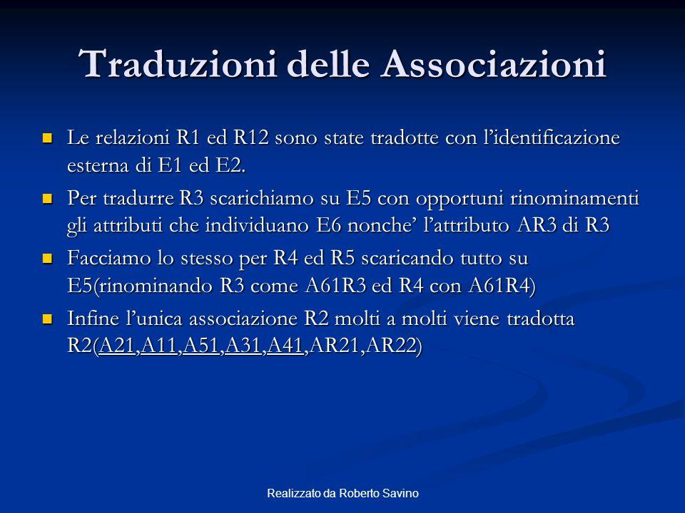 Realizzato da Roberto Savino Traduzioni delle Associazioni Le relazioni R1 ed R12 sono state tradotte con lidentificazione esterna di E1 ed E2. Le rel