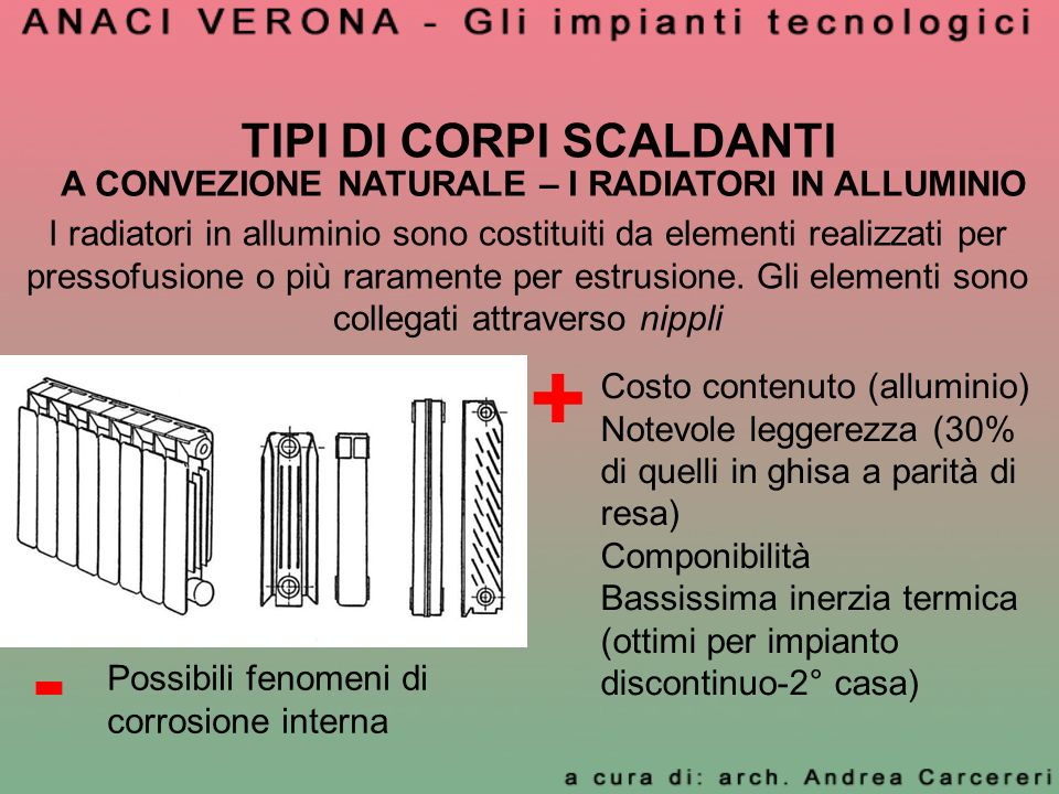 TIPI DI CORPI SCALDANTI A CONVEZIONE NATURALE – I RADIATORI IN ALLUMINIO I radiatori in alluminio sono costituiti da elementi realizzati per pressofus