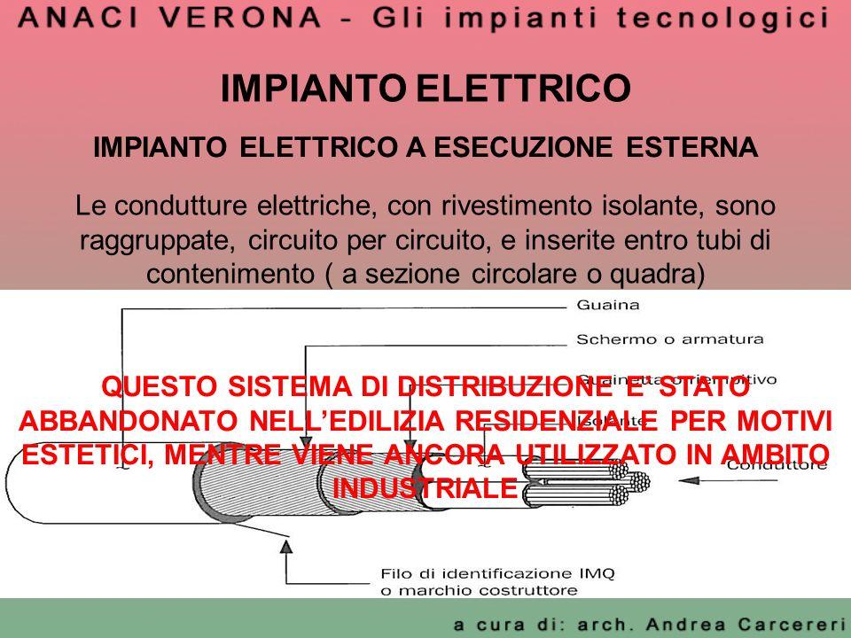 IMPIANTO ELETTRICO Le condutture elettriche, con rivestimento isolante, sono raggruppate, circuito per circuito, e inserite entro tubi di contenimento