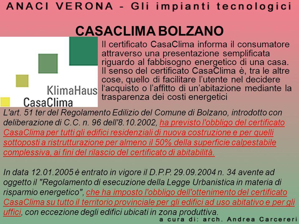 CASACLIMA BOLZANO Il certificato CasaClima informa il consumatore attraverso una presentazione semplificata riguardo al fabbisogno energetico di una c