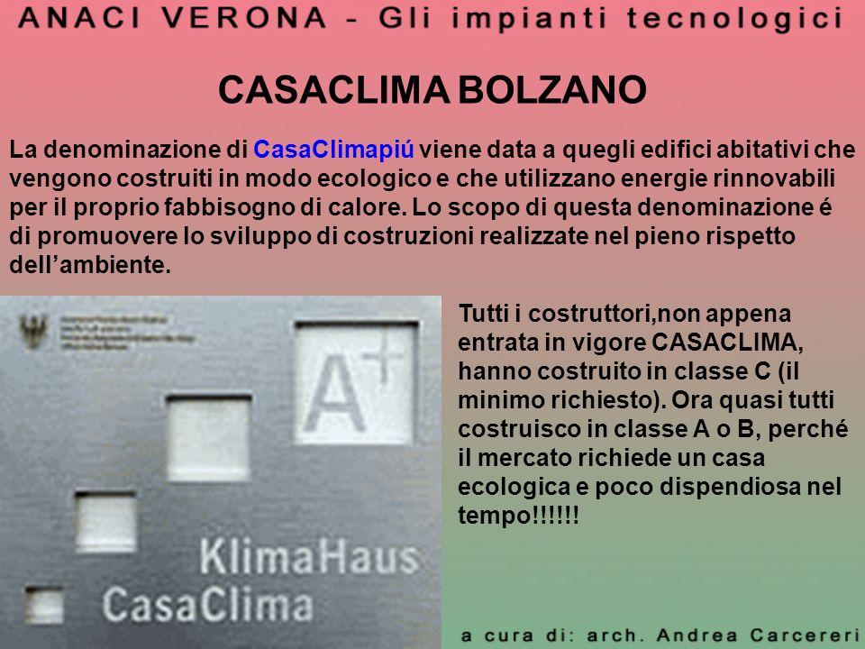 CASACLIMA BOLZANO La denominazione di CasaClimapiú viene data a quegli edifici abitativi che vengono costruiti in modo ecologico e che utilizzano ener