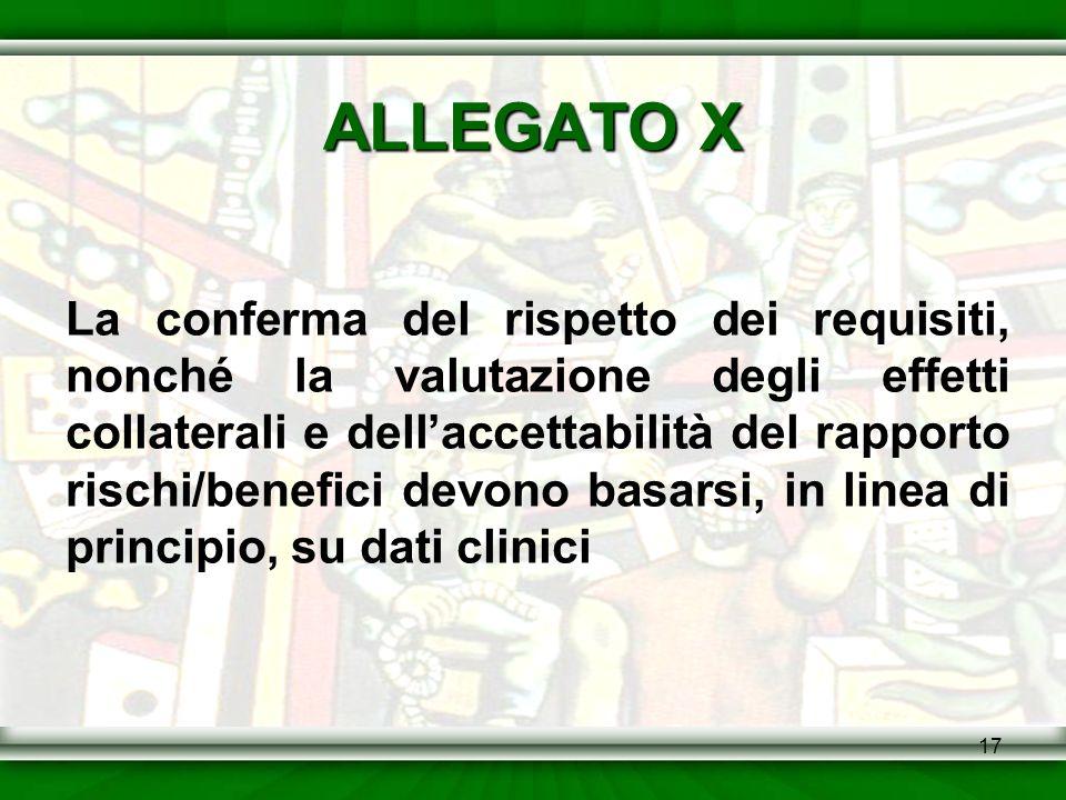 17 ALLEGATO X La conferma del rispetto dei requisiti, nonché la valutazione degli effetti collaterali e dellaccettabilità del rapporto rischi/benefici