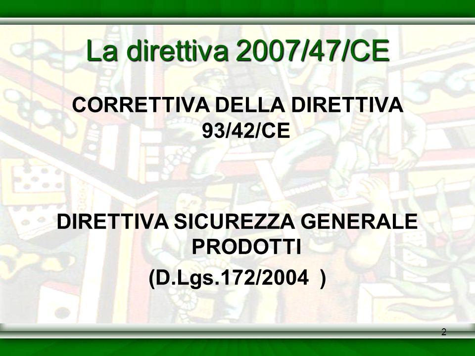 2 La direttiva 2007/47/CE CORRETTIVA DELLA DIRETTIVA 93/42/CE DIRETTIVA SICUREZZA GENERALE PRODOTTI (D.Lgs.172/2004 )