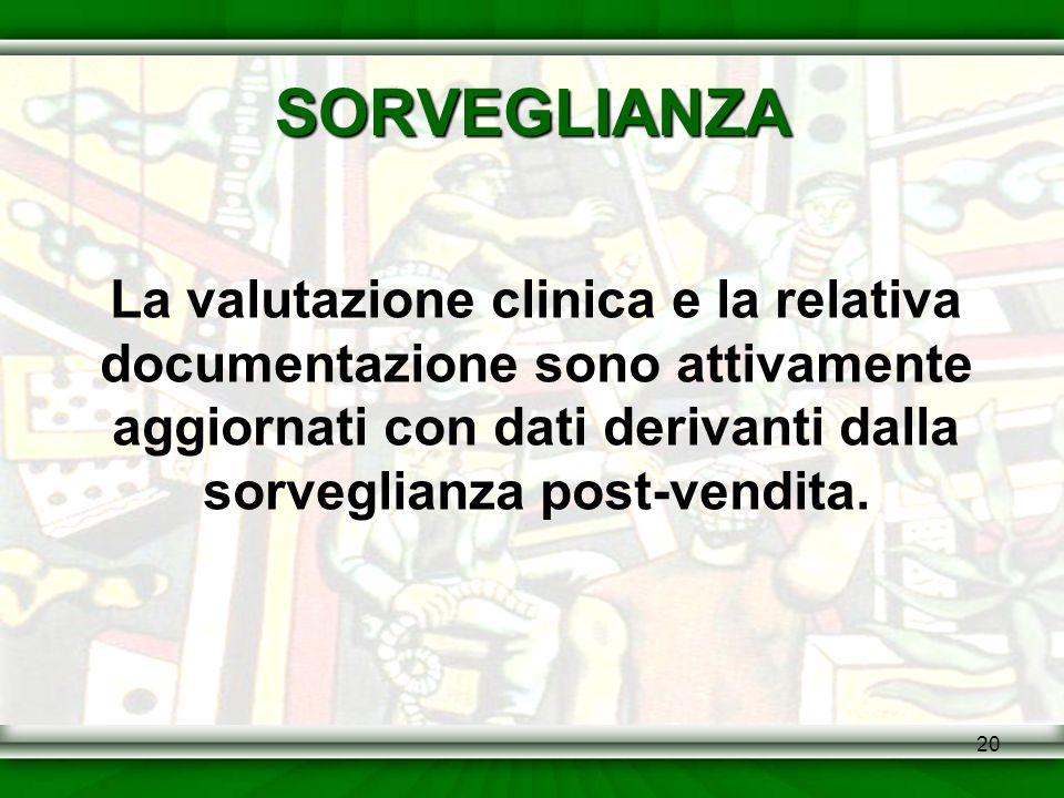20 SORVEGLIANZA La valutazione clinica e la relativa documentazione sono attivamente aggiornati con dati derivanti dalla sorveglianza post-vendita.