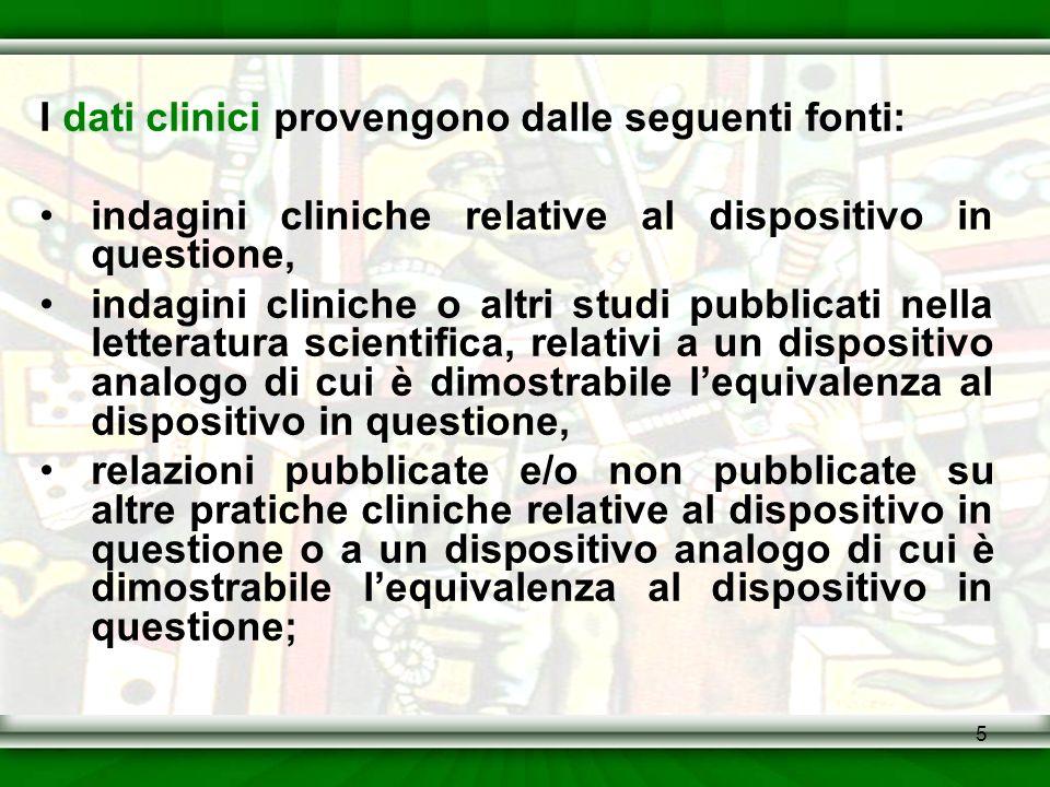 5 I dati clinici provengono dalle seguenti fonti: indagini cliniche relative al dispositivo in questione, indagini cliniche o altri studi pubblicati n
