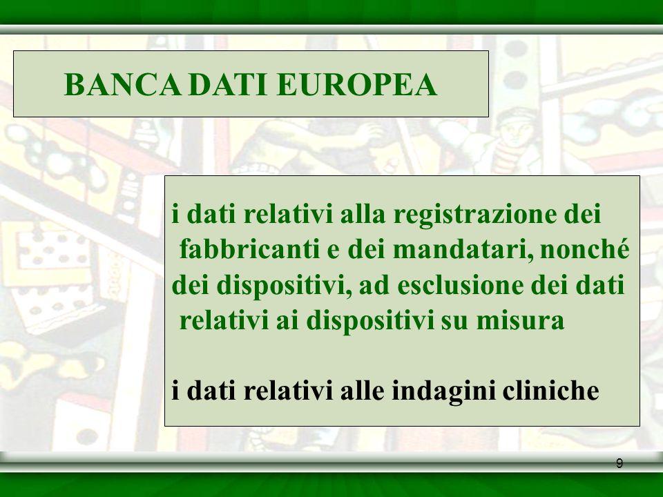 9 BANCA DATI EUROPEA i dati relativi alla registrazione dei fabbricanti e dei mandatari, nonché dei dispositivi, ad esclusione dei dati relativi ai di