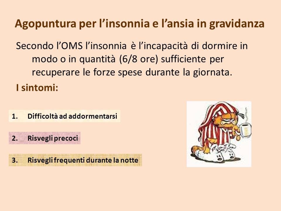 Agopuntura per linsonnia e lansia in gravidanza Secondo lOMS linsonnia è lincapacità di dormire in modo o in quantità (6/8 ore) sufficiente per recupe