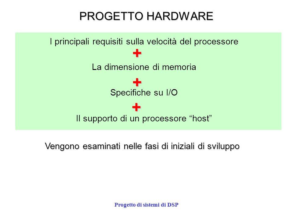 Progetto di sistemi di DSP PROGETTO HARDWARE I principali requisiti sulla velocità del processore La dimensione di memoria Specifiche su I/O Il suppor