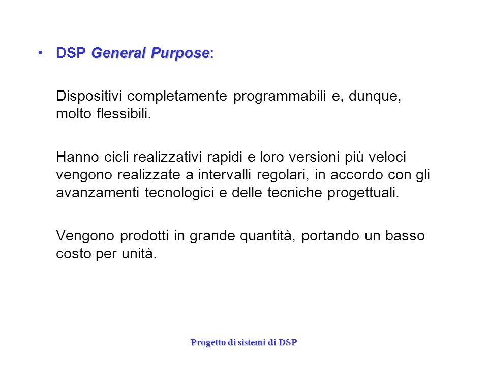Progetto di sistemi di DSP General PurposeDSP General Purpose: Dispositivi completamente programmabili e, dunque, molto flessibili. Hanno cicli realiz