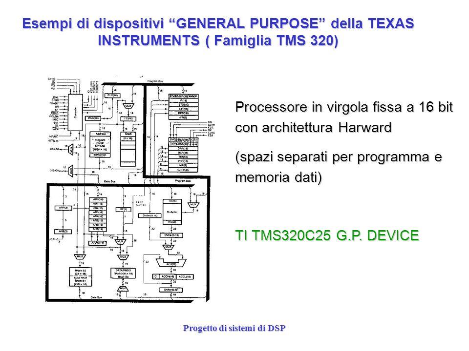 Progetto di sistemi di DSP Esempi di dispositivi GENERAL PURPOSE della TEXAS INSTRUMENTS ( Famiglia TMS 320) Processore in virgola fissa a 16 bit con