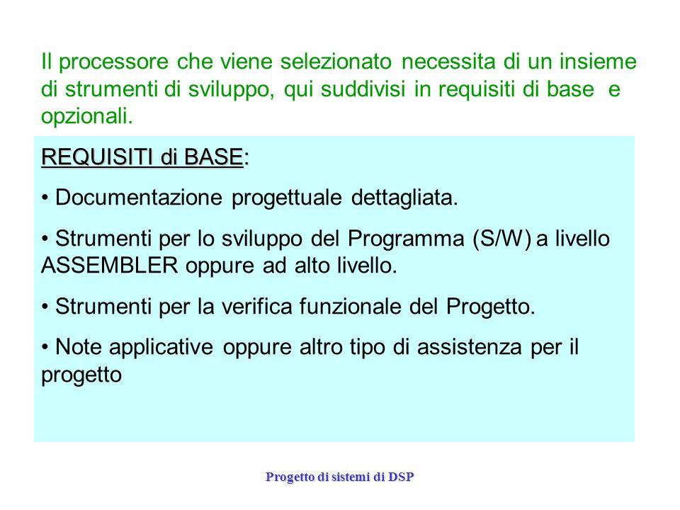 Progetto di sistemi di DSP Il processore che viene selezionato necessita di un insieme di strumenti di sviluppo, qui suddivisi in requisiti di base e