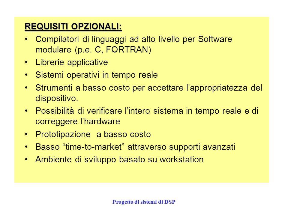 Progetto di sistemi di DSP REQUISITI OPZIONALI: Compilatori di linguaggi ad alto livello per Software modulare (p.e. C, FORTRAN) Librerie applicative