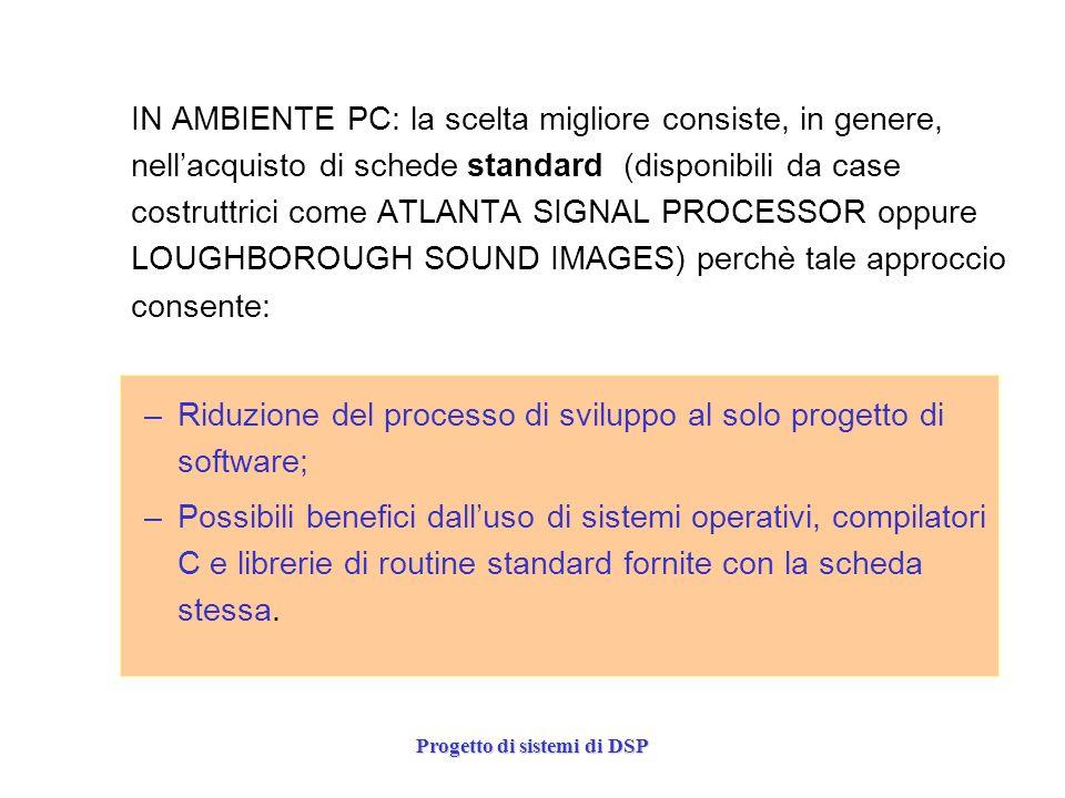 Progetto di sistemi di DSP IN AMBIENTE PC: la scelta migliore consiste, in genere, nellacquisto di schede standard (disponibili da case costruttrici c