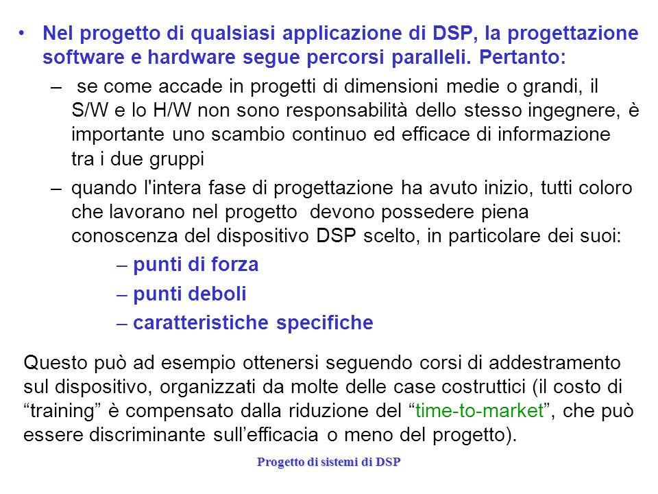 Progetto di sistemi di DSP La realizzazione dellapplicazione attorno a un particolare DSP è molto dipendente dal tipo di dispositivo e va, dunque analizzata caso per caso.