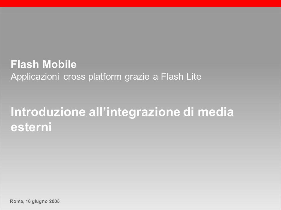 Roma, 13 maggio 2005Roma, 16 giugno 2005 slide 12 Macromedia Flash Lite Comunicazione con lesterno – Utilizzare file MIDI Associazione file midi esterno…