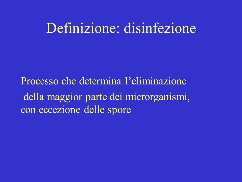 Definizione: disinfezione Processo che determina leliminazione della maggior parte dei microrganismi, con eccezione delle spore