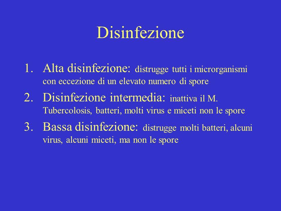 Disinfezione 1.Alta disinfezione: distrugge tutti i microrganismi con eccezione di un elevato numero di spore 2.Disinfezione intermedia: inattiva il M.
