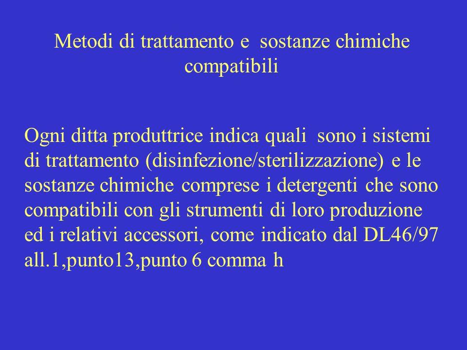 Metodi di trattamento e sostanze chimiche compatibili Ogni ditta produttrice indica quali sono i sistemi di trattamento (disinfezione/sterilizzazione)