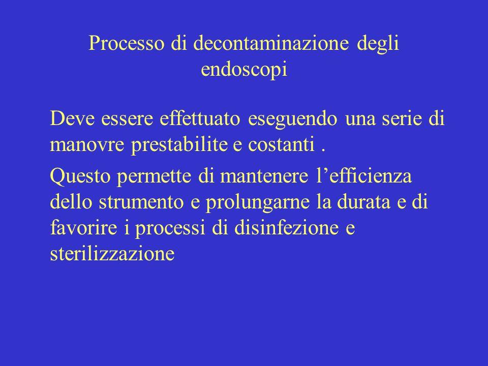 Processo di decontaminazione degli endoscopi Deve essere effettuato eseguendo una serie di manovre prestabilite e costanti. Questo permette di mantene
