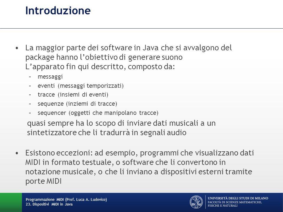 Introduzione La maggior parte dei software in Java che si avvalgono del package hanno lobiettivo di generare suono Lapparato fin qui descritto, compos