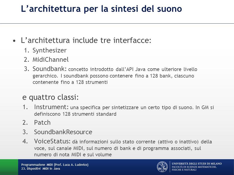 Larchitettura per la sintesi del suono Larchitettura include tre interfacce: 1.Synthesizer 2.MidiChannel 3.Soundbank: concetto introdotto dallAPI Java
