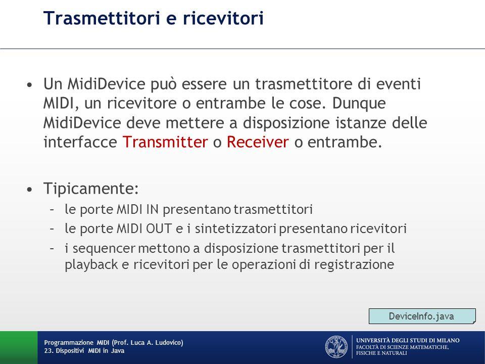 Trasmettitori e ricevitori Un MidiDevice può essere un trasmettitore di eventi MIDI, un ricevitore o entrambe le cose. Dunque MidiDevice deve mettere