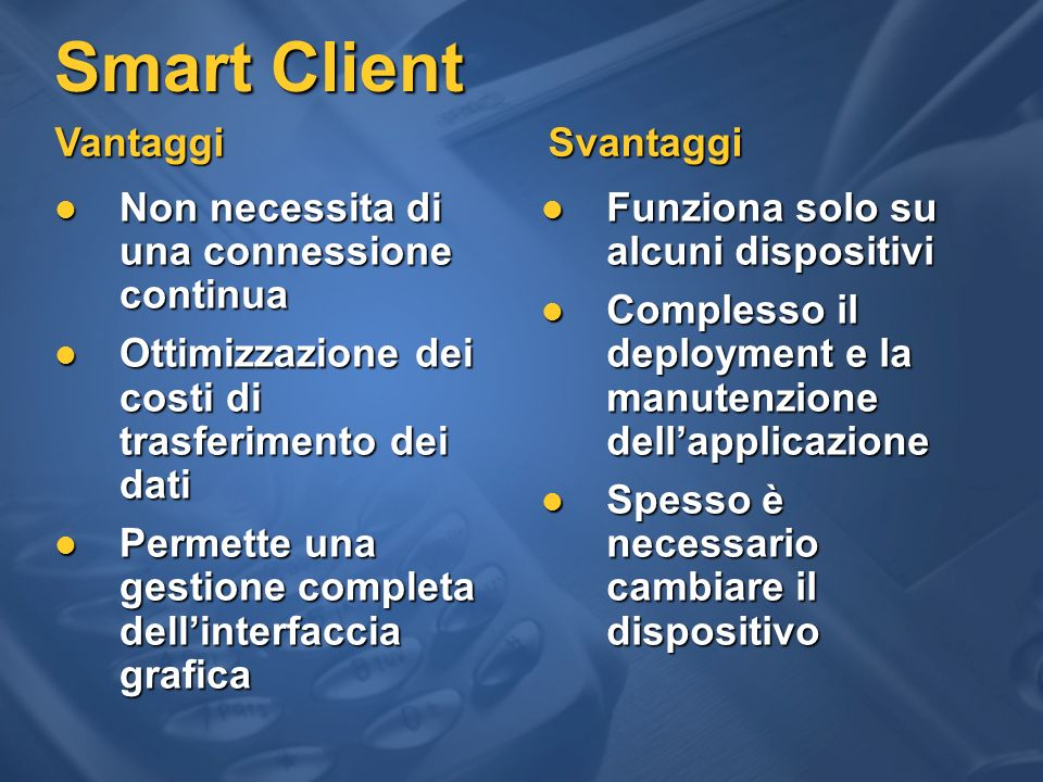 eVC++ eVC++ Visual Studio.NET with Visual C++.NET Scegliere il dispositivo giusto Voice Real-time messaging SMS, MMS SMS, MMS MSN Messenger MSN MessengerBusinessapplications Mobile Office Mobile Office Business Business Tablet PC E-Mail Pocket PC Smartphone Visual Studio.NET +.NET Compact Framework Visual Studio.NET +.NET Framework CF 2.0 Native Managed