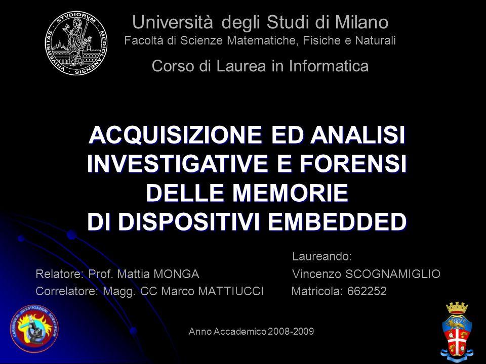 Laureando: Relatore: Prof. Mattia MONGA Vincenzo SCOGNAMIGLIO Correlatore: Magg. CC Marco MATTIUCCI Matricola: 662252 Anno Accademico 2008-2009 Univer