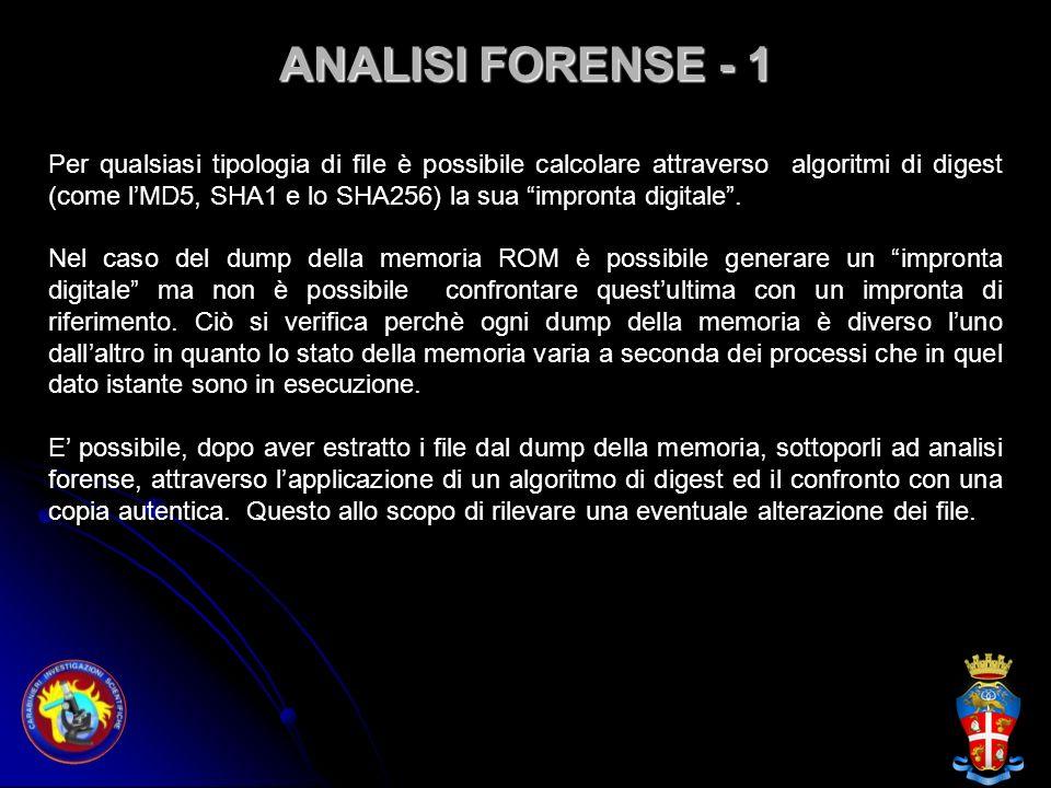 ANALISI FORENSE - 1 Per qualsiasi tipologia di file è possibile calcolare attraverso algoritmi di digest (come lMD5, SHA1 e lo SHA256) la sua impronta