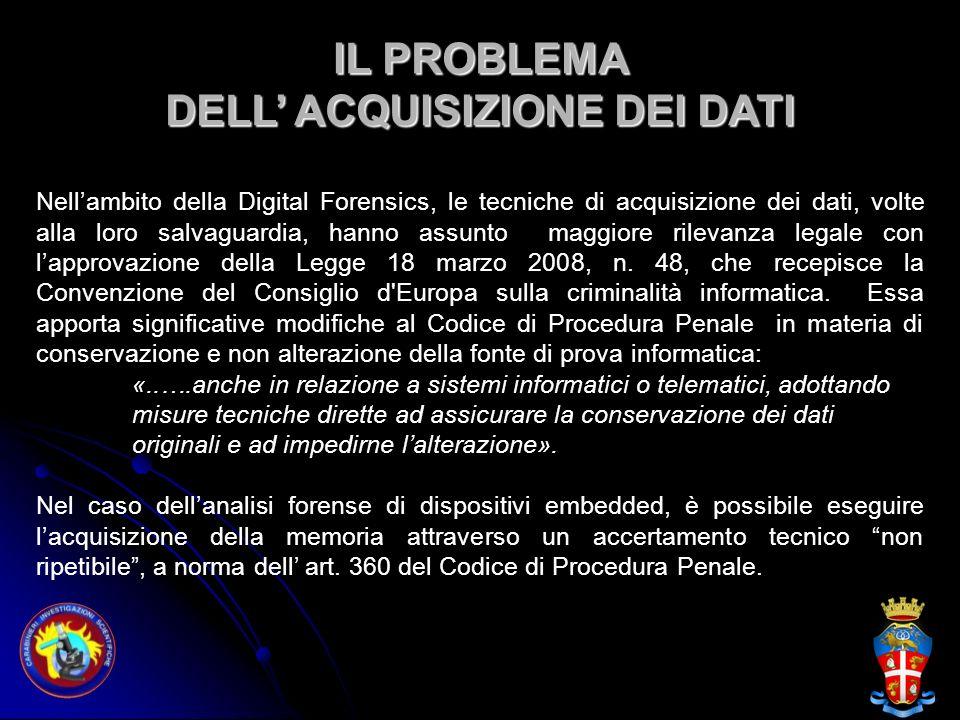IL PROBLEMA DELL ACQUISIZIONE DEI DATI Nellambito della Digital Forensics, le tecniche di acquisizione dei dati, volte alla loro salvaguardia, hanno a