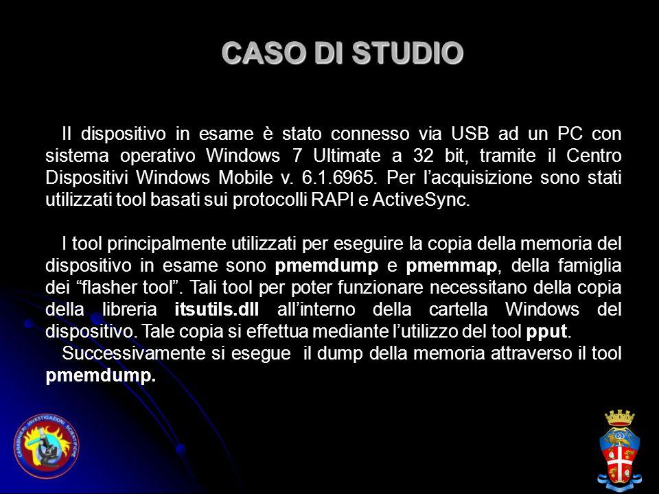 CASO DI STUDIO Il dispositivo in esame è stato connesso via USB ad un PC con sistema operativo Windows 7 Ultimate a 32 bit, tramite il Centro Disposit
