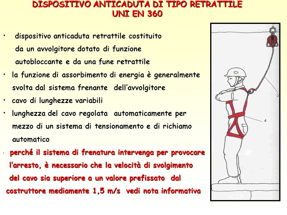 DISPOSITIVO ANTICADUTA DI TIPO RETRATTILE UNI EN 360 dispositivo anticaduta retrattile costituito dispositivo anticaduta retrattile costituito da un a