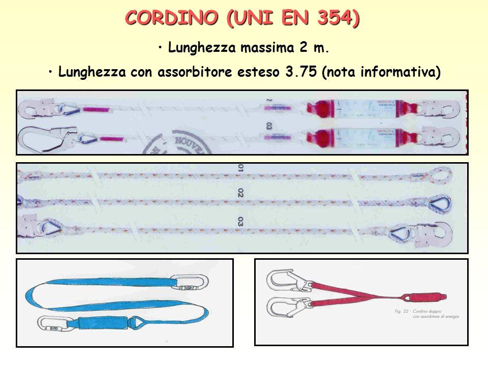 CORDINO (UNI EN 354) Lunghezza massima 2 m. Lunghezza con assorbitore esteso 3.75 (nota informativa)