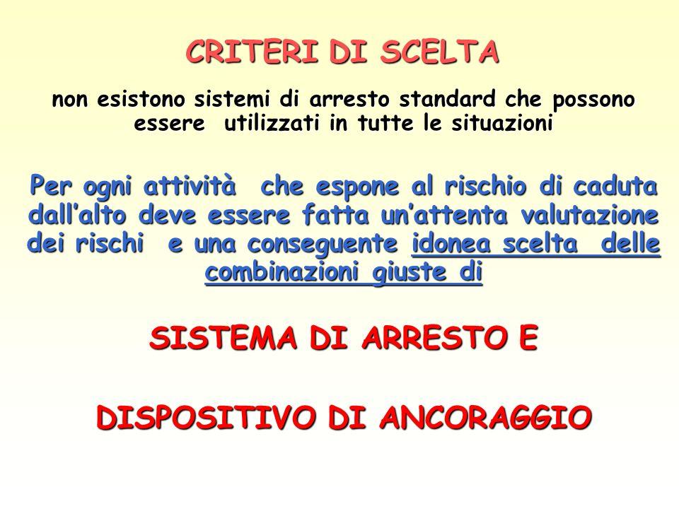 CRITERI DI SCELTA non esistono sistemi di arresto standard che possono essere utilizzati in tutte le situazioni Per ogni attività che espone al rischi