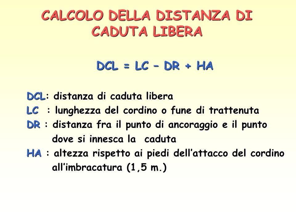 CALCOLO DELLA DISTANZA DI CADUTA LIBERA DCL = LC – DR + HA DCL = LC – DR + HA DCL: distanza di caduta libera LC : lunghezza del cordino o fune di trat