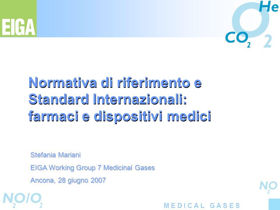 M E D I C A L G A S E S Normativa di riferimento e Standard Internazionali: farmaci e dispositivi medici Stefania Mariani EIGA Working Group 7 Medicin