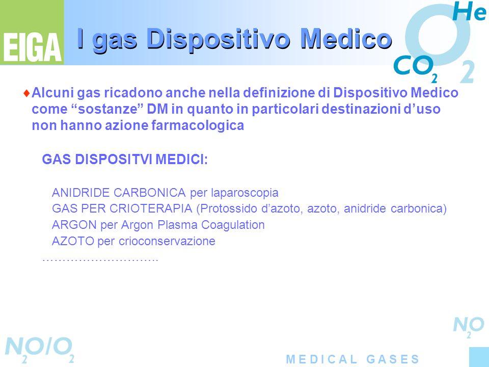 M E D I C A L G A S E S I gas Dispositivo Medico Alcuni gas ricadono anche nella definizione di Dispositivo Medico come sostanze DM in quanto in parti