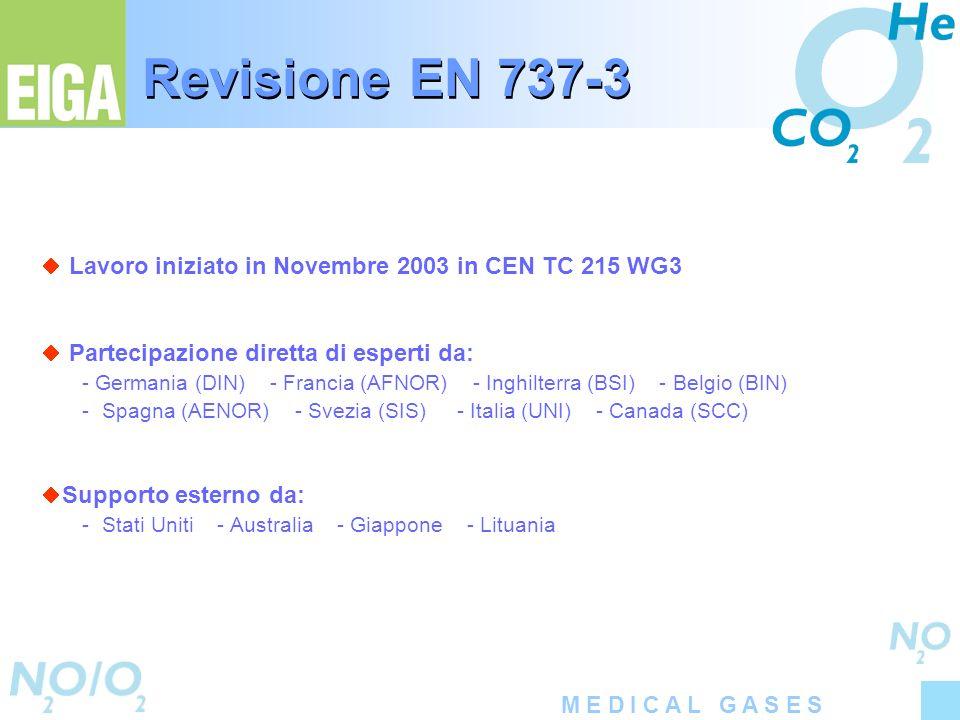 M E D I C A L G A S E S Revisione EN 737-3 Lavoro iniziato in Novembre 2003 in CEN TC 215 WG3 Partecipazione diretta di esperti da: - Germania (DIN) -