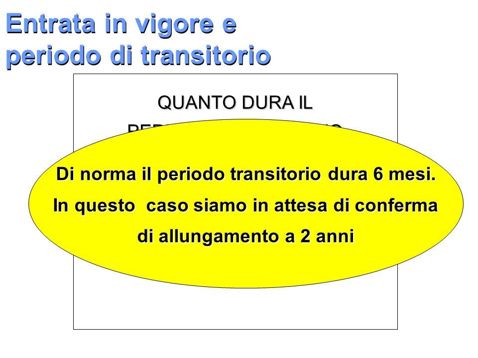 Entrata in vigore e periodo di transitorio QUANTO DURA IL PERIODO TRANSITORIO ? Di norma il periodo transitorio dura 6 mesi. In questo caso siamo in a