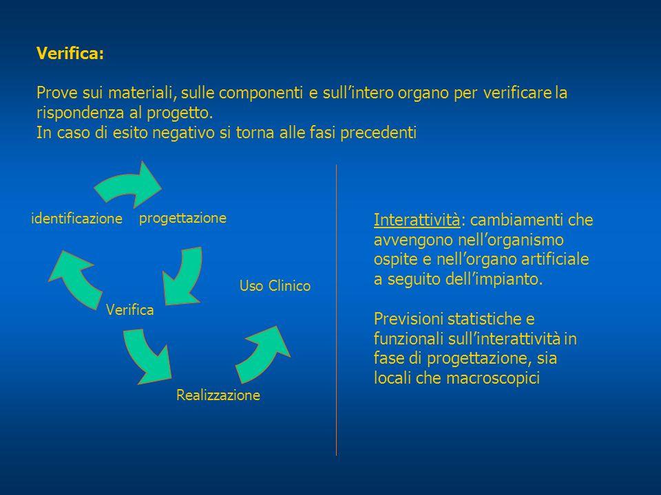 Verifica: Prove sui materiali, sulle componenti e sullintero organo per verificare la rispondenza al progetto. In caso di esito negativo si torna alle